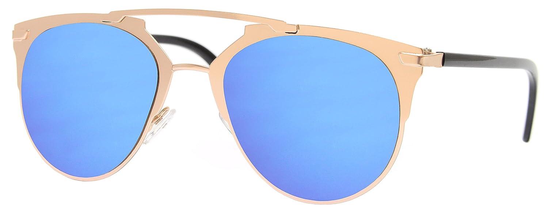 Cheapass Lunettes de Soleil Ronde Noir Bleu Verres Ronds Effet Miroir Designer Inspiré UV400 Femme Homme bFP4Uo