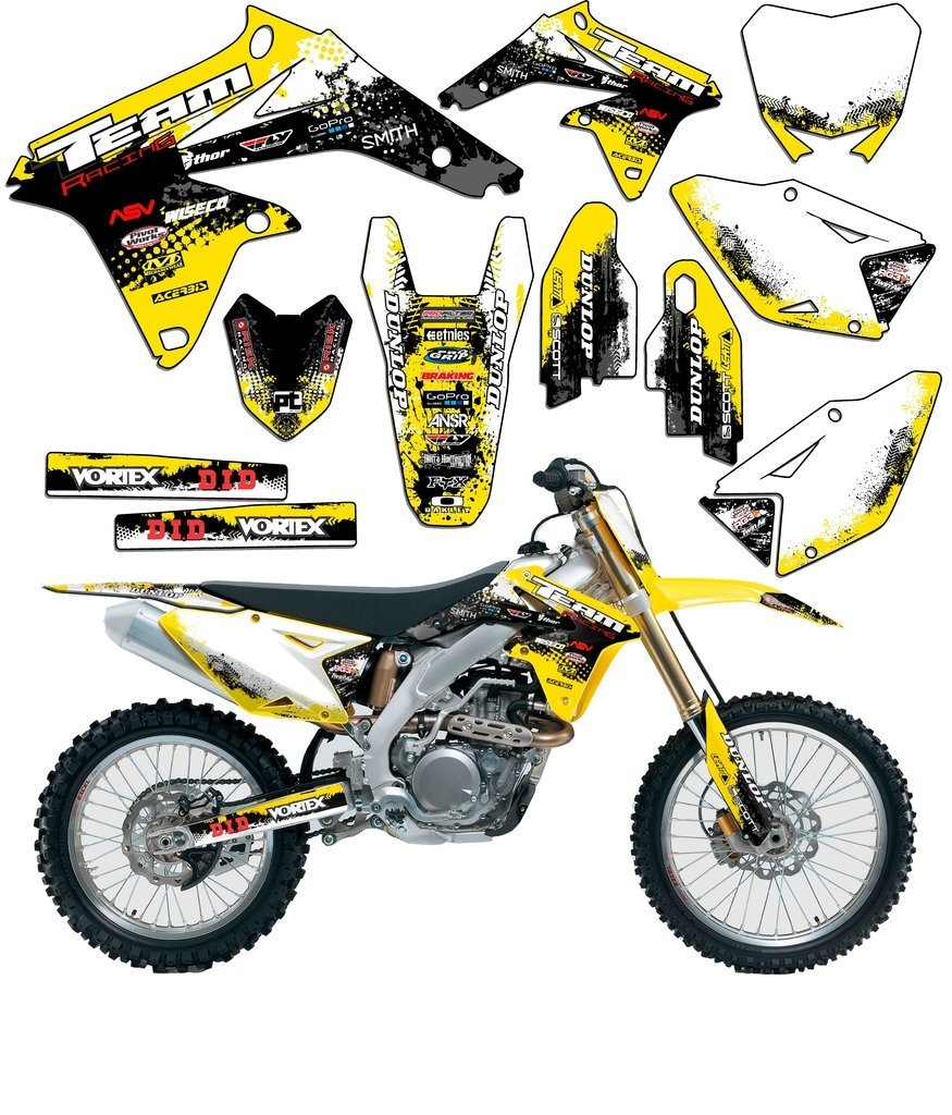 Team Racing Graphics kit compatible with Suzuki 2005-2019 DRZ 400SM SCATTER