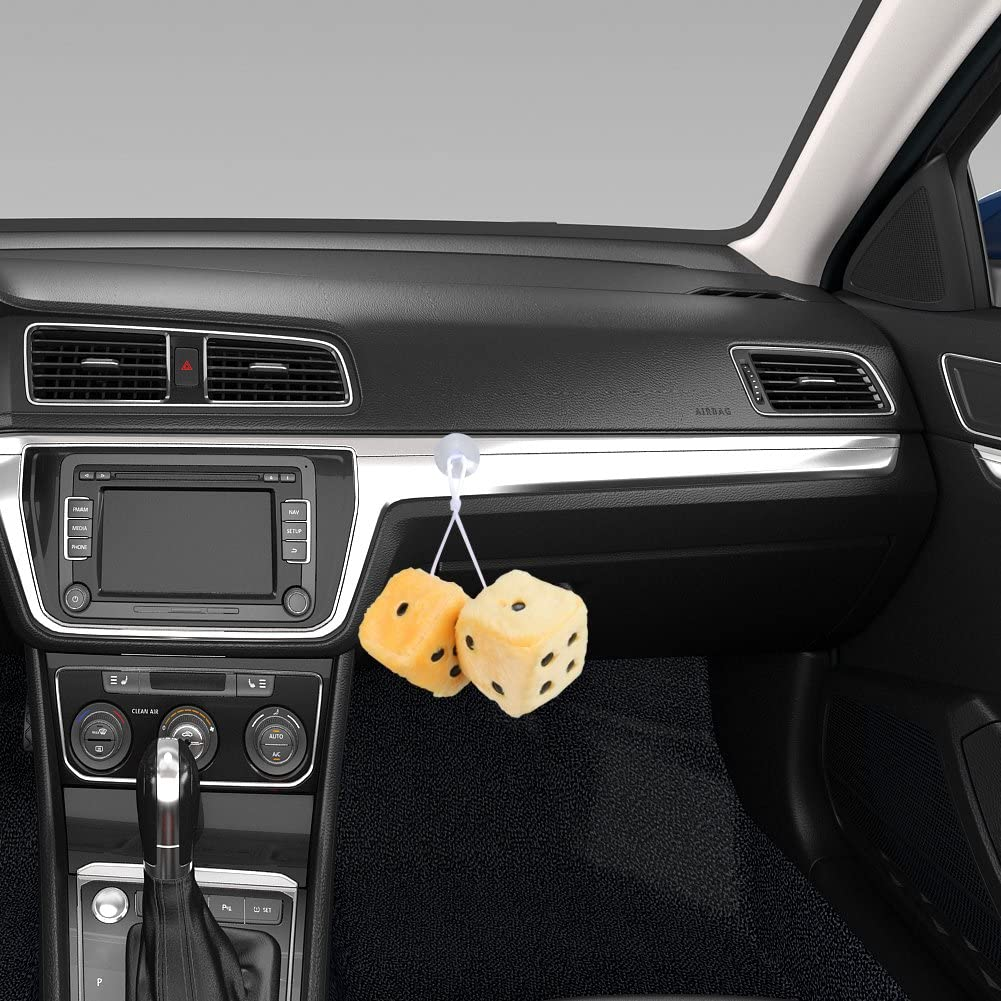 White Car Fuzzy Dice for Mirror,3 inch Pair of Retro Square Mirror Hanging Dice FOURTH Couple Fuzzy Plush Dice with Dots for Car Interior Ornament Decoration