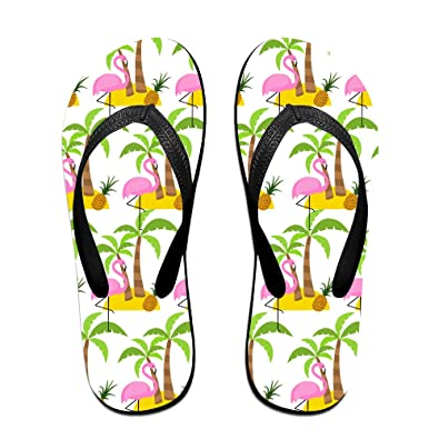 eaa154041 Palm Tree Flamingo and Pineapple Unisex Fashion Beach Slipper Indoor and  Outdoor Classical Flip Flop Thong