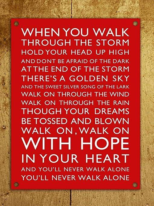 30,5 x 45,7 cm Placa met/álica para Puerta de Pared dise/ño de Liverpool A4 con Texto en ingl/és Predrilled YouLl Never Walk Alone Tin