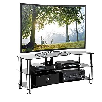 1home Curbe Meuble Tv En Verre De Sécurité Noir Aux Ecrans 32 70inch Largeur De 120cm