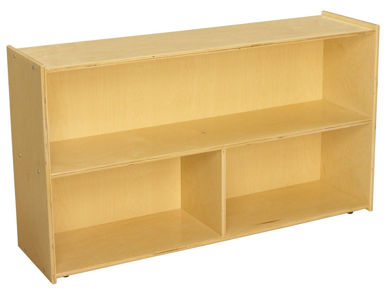 Childcraft ABC Furnishings 2-Shelf, 3-Compartment Storage Unit, 48 W x 13 D x 27-3/8 H in