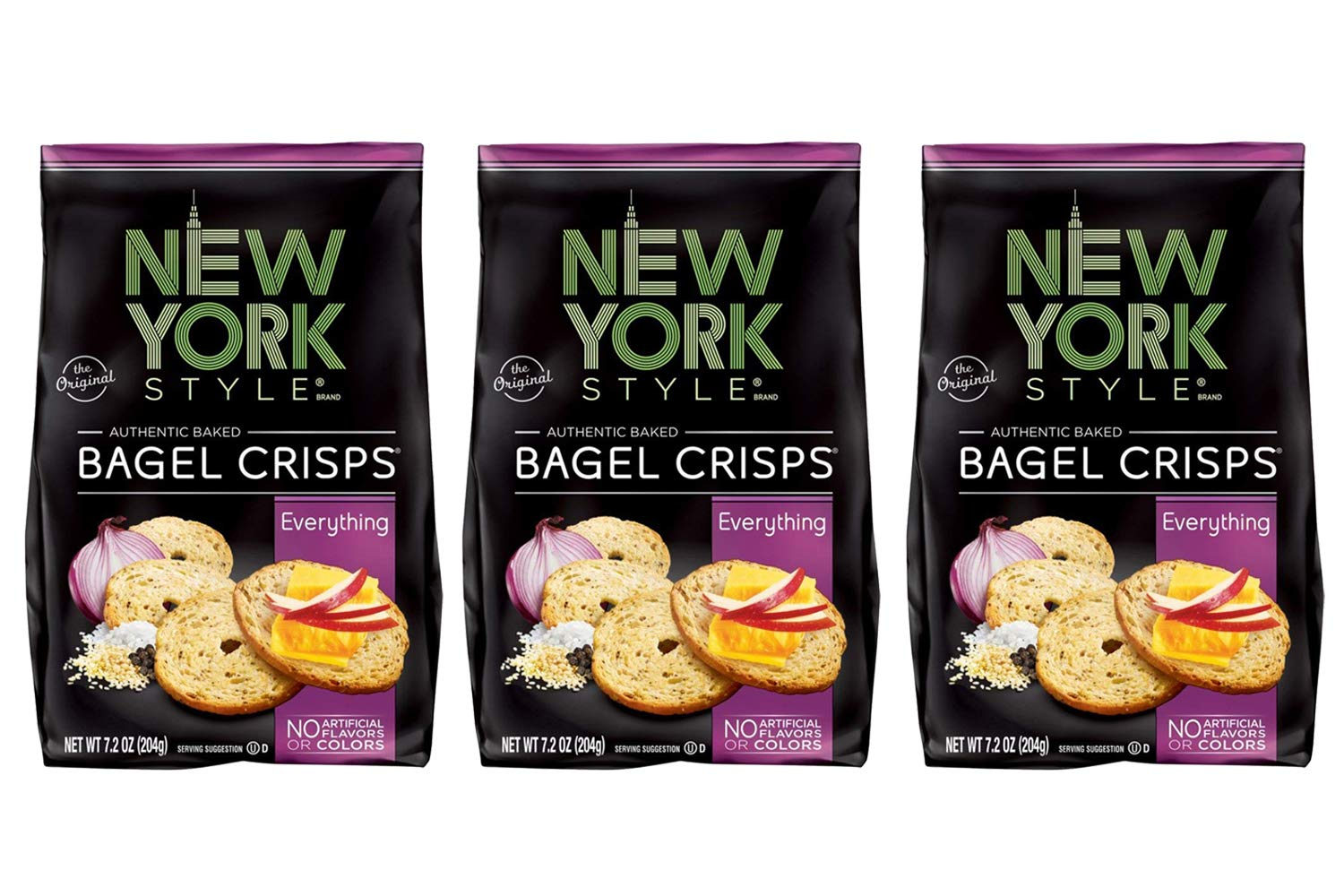 New York Style Bagel Crisps, Everything, 7.2 Ounce (Pack of 3) by New York Style