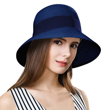 Siggi Womens Floppy Summer Sun Beach Straw Fedoras Hats Accessories Wide  Brim Navy 8bfa7665041
