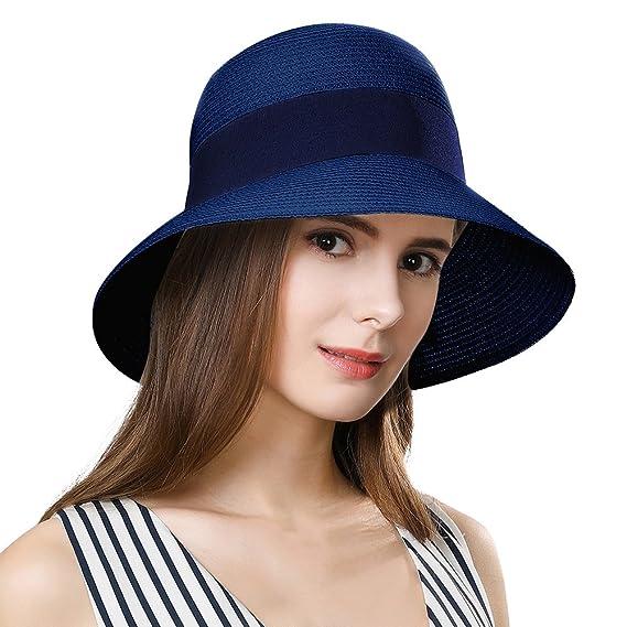f1c40ad3485 Siggi Womens Floppy Summer Sun Beach Straw Fedoras Hats Accessories Wide  Brim Navy