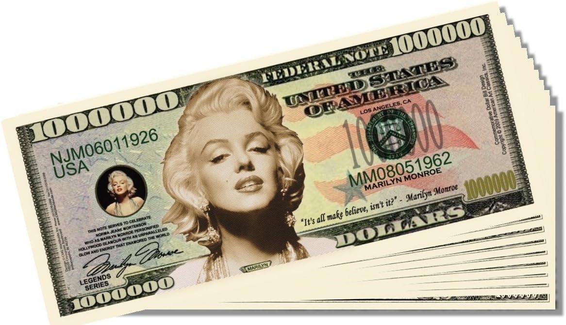 Marilyn Monroe Million Dollars $ USA Money Bill Woman Legend Novelty Not Real