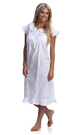 b77d7d3f2f Image Unavailable. Image not available for. Color  stylesilove Handmade  White Embroidered Eyelet Accent Cotton Night Dress Sleepwear Nightgown