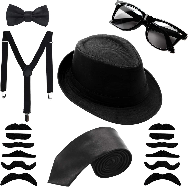 Mens FANCY DRESS 20/'s 30/'s Gangster Blues Brothers cappello occhiali Fedora Cravatta Bretelle