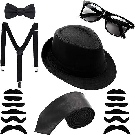 Aneco 1920S Gángster Disfraz,Negro Sombrero Gafas de sol Corbata ...