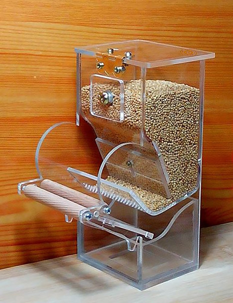 TOKYO-T Bird Cage Auto Seed Feeder for Budgies (6.3x2.95x2.35)