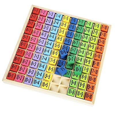 ROBUD Wooden Multiplication & Math Table Board Game, Kids Montessori Preschool Learning Toys Gift for Toodler Aged 3 Years Old and Up - 100 Cubes Wooden Building Blocks: Toys & Games