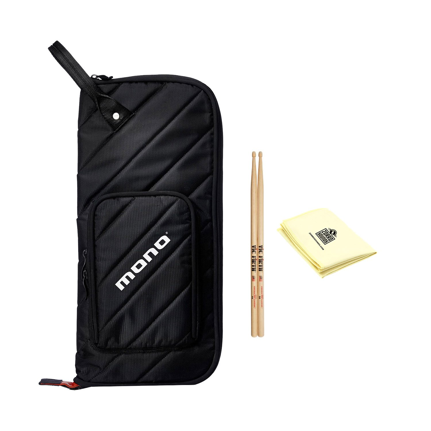 Mono M80-ST-BLK-U Drumstick Case in Black with Zildjian Vic Firth American Classic 5A Drum Sticks and Custom Designed Instrument Cloth