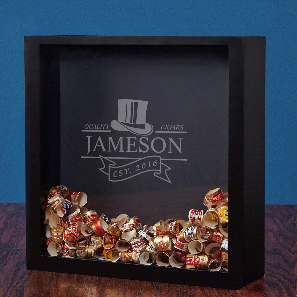 HomeWetBar Top Notch Cigars Personalized Shadow Box