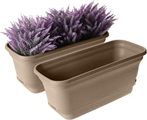 T4U Self Watering Planters Plastic Rectangular Plant Pot, Modern Decorative Flower Pot/Window Box for All House Plants, Flowers, Herbs, African Violets, Succulents - Brown, Set of 2
