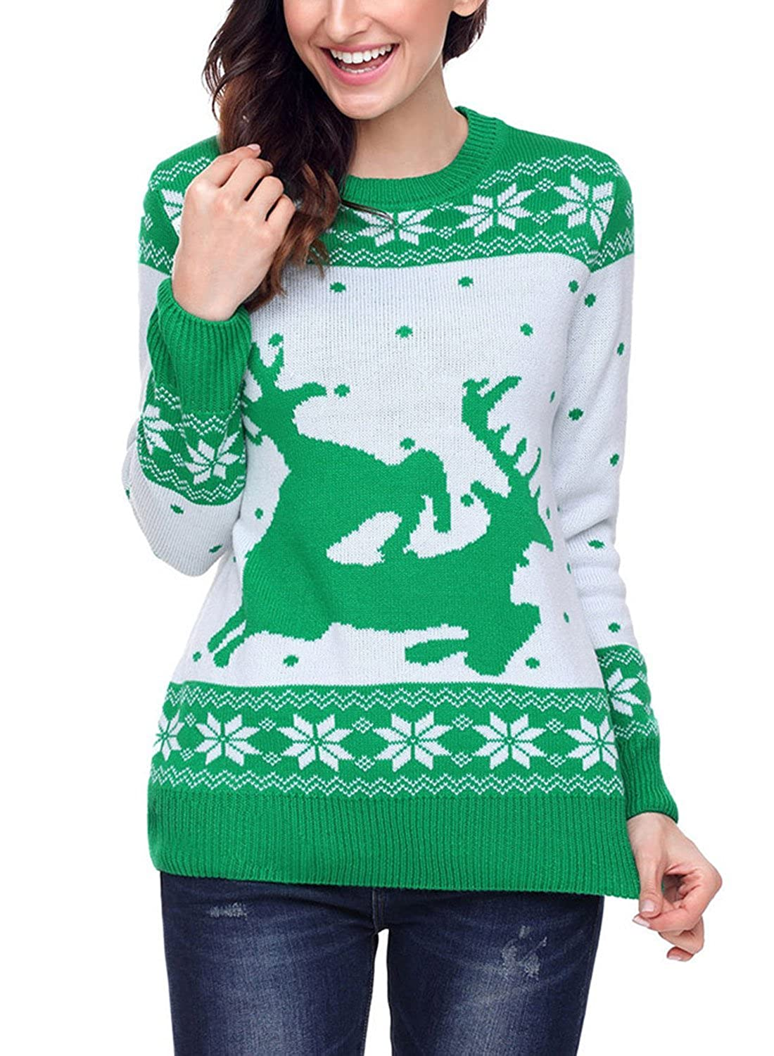 FUTURINO Womens Ugly Reindeer Christmas Knitted Red Pullover Sweater