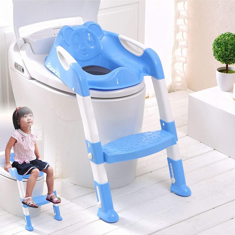 SQ PRO azul Teddie Baby formación escalera orinal Asiento para inodoro con pasos