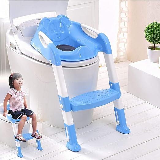 Guilty Gadgets - Asiento de inodoro plegable para bebé, ajustable, con escalera para niños y niñas, color azul: Amazon.es: Hogar