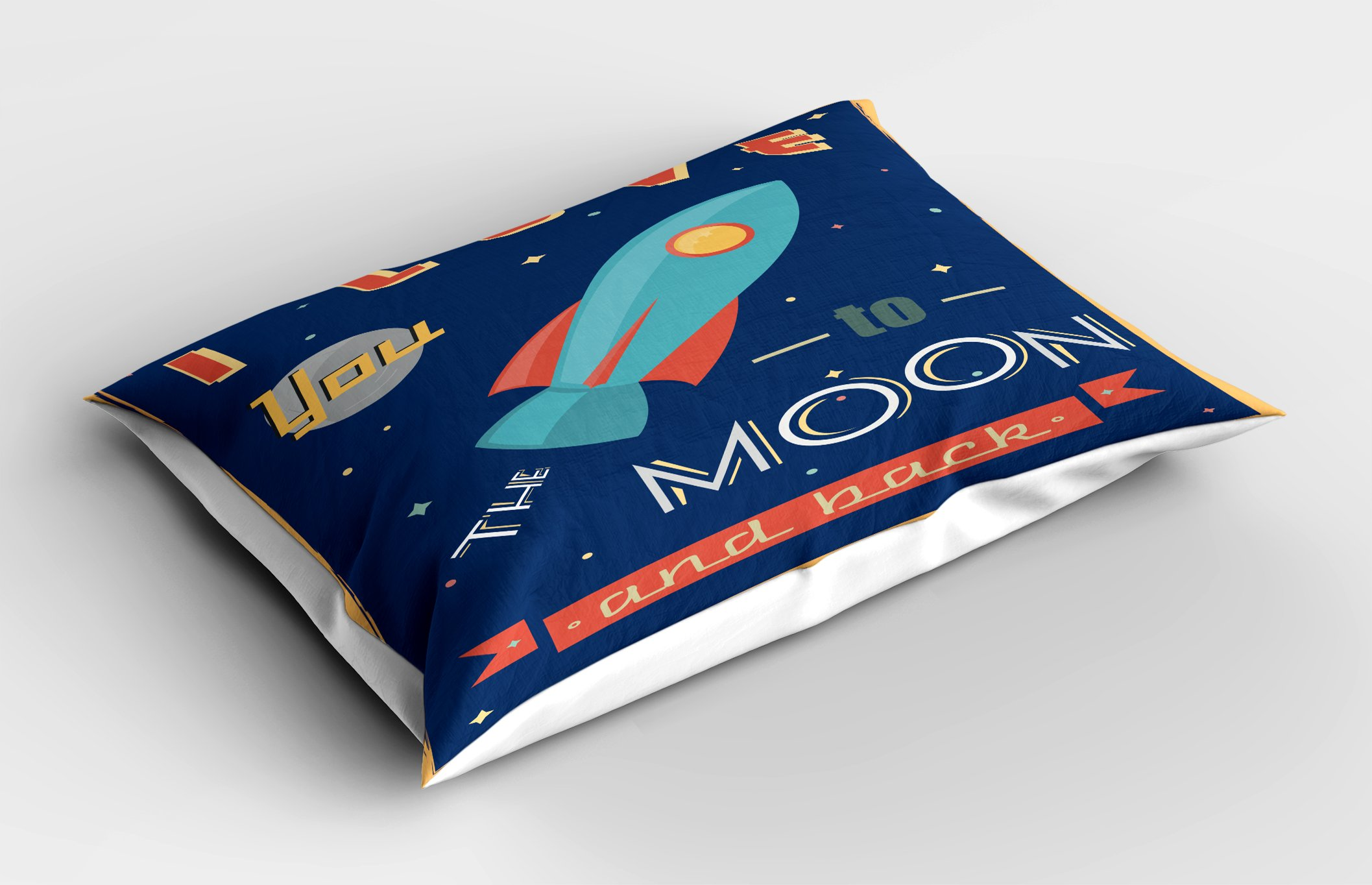Ambesonne I Love You Pillow Sham, Spaceship Galaxy Cosmos Valentine's Theme Retro Inspirational Letters, Decorative Standard Queen Size Printed Pillowcase, 30 X 20 inches, Dark Blue and Coral by Ambesonne (Image #2)