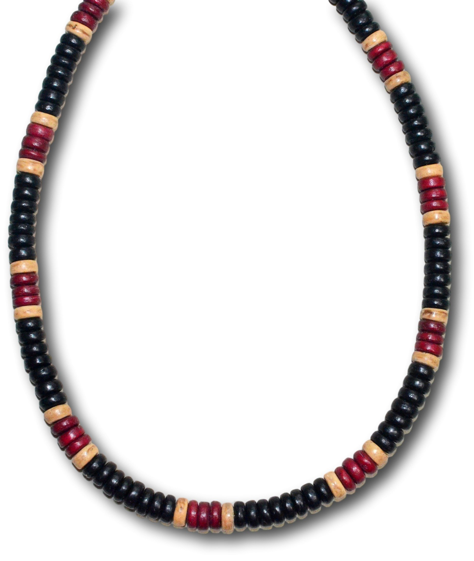 Native Treasure - 18'' Soho Black, Brown Coco Shell Surfer Necklace - 8mm (5/16'') (18 Inches)