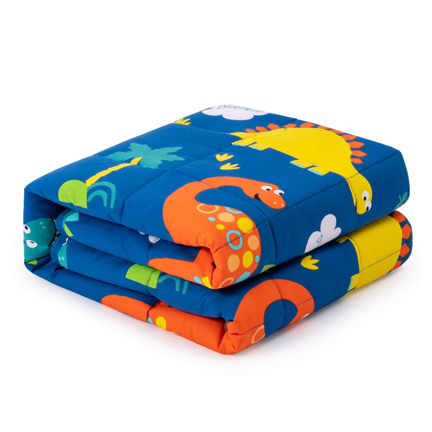 Anjee Kids Weighted Blanket 5lbs for Children with a Cotton Pillowcase, Breathable Cotton Fabric with Cute Dinosaurs Cartoon Pattern Help Better Sleep, 36 x 48 Inches, Navy Blue