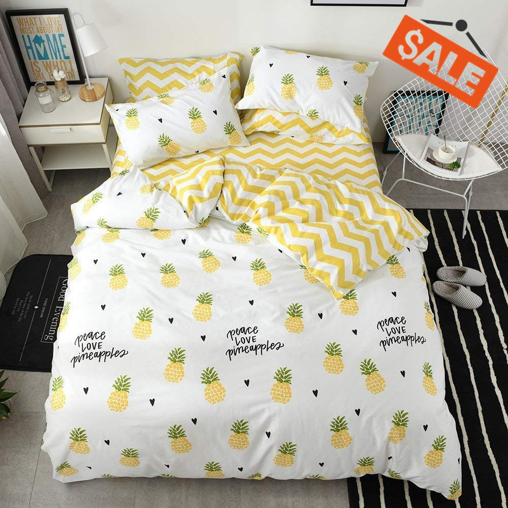 VCLIFE Yellow Pineapple Printed Duvet Cover Yellow White Geometric Bedding Sets Kids Woman Fruit Plant Design Bedding Collections, Soft Hypoallergenic, Durable, Lightweight,Queen by VCLIFE