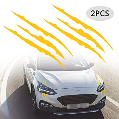 TOMALL 2 Pcs Claw Marks Headlight Reflective Sticker Waterproof Scratch Car Sticker Scratch Stripe Decal Car Sticker for Car Headlamp Engine Yellow: Automotive