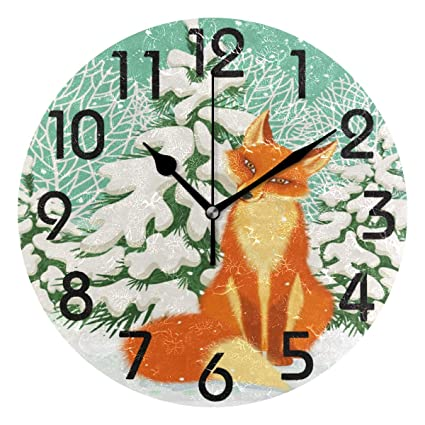Amazon.com: Naanle Stylish Winter Forest Red Fox Print Round ...