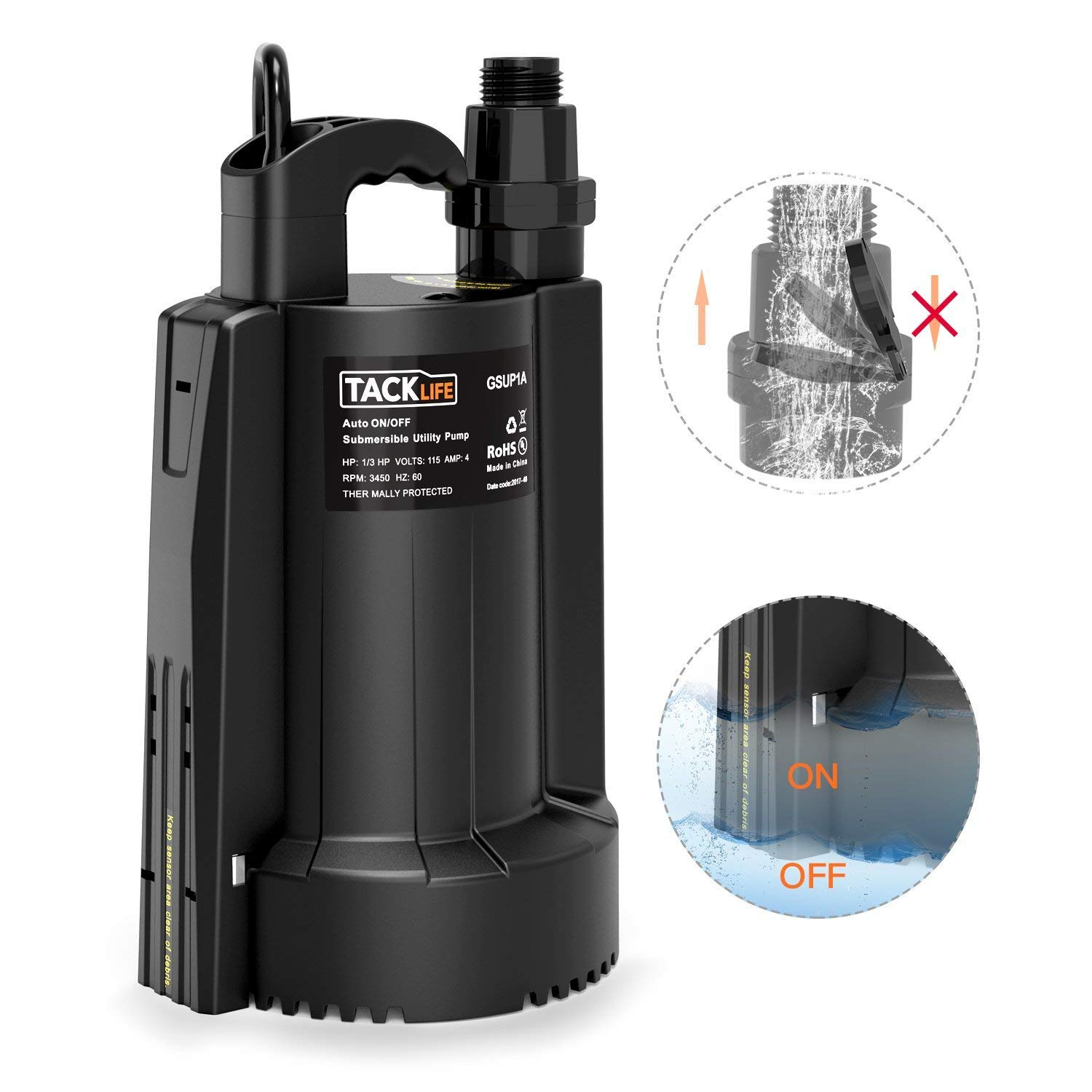 TACKLIFE Submersible Water Pump, Automatic ON/OFF, 1/3 HP 30 dB 3/4'' Adapter 2550 GPH Maximum Flow, Suitable for Use in Farms/Swimming Pools/Flooded Basements/Drainage in Water Transfer Applications by TACKLIFE