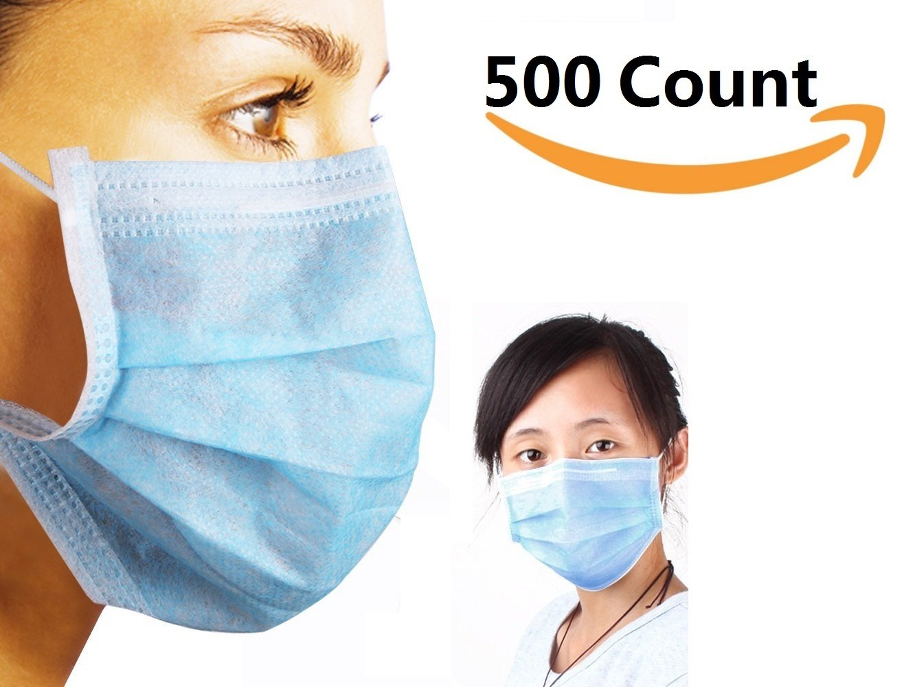 3-Ply Blue Commercial Dental Surgical Medical Disposable Earloop Face Masks . MADE IN USA ! 50/Box ( 500 Count ) by COOL ONE