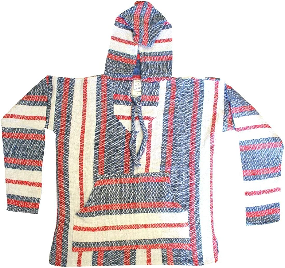Del Mex Mexican Baja Hoodie Hippie Surf Poncho Sweater Sweatshirt Pullover Jerga at  Men's Clothing store