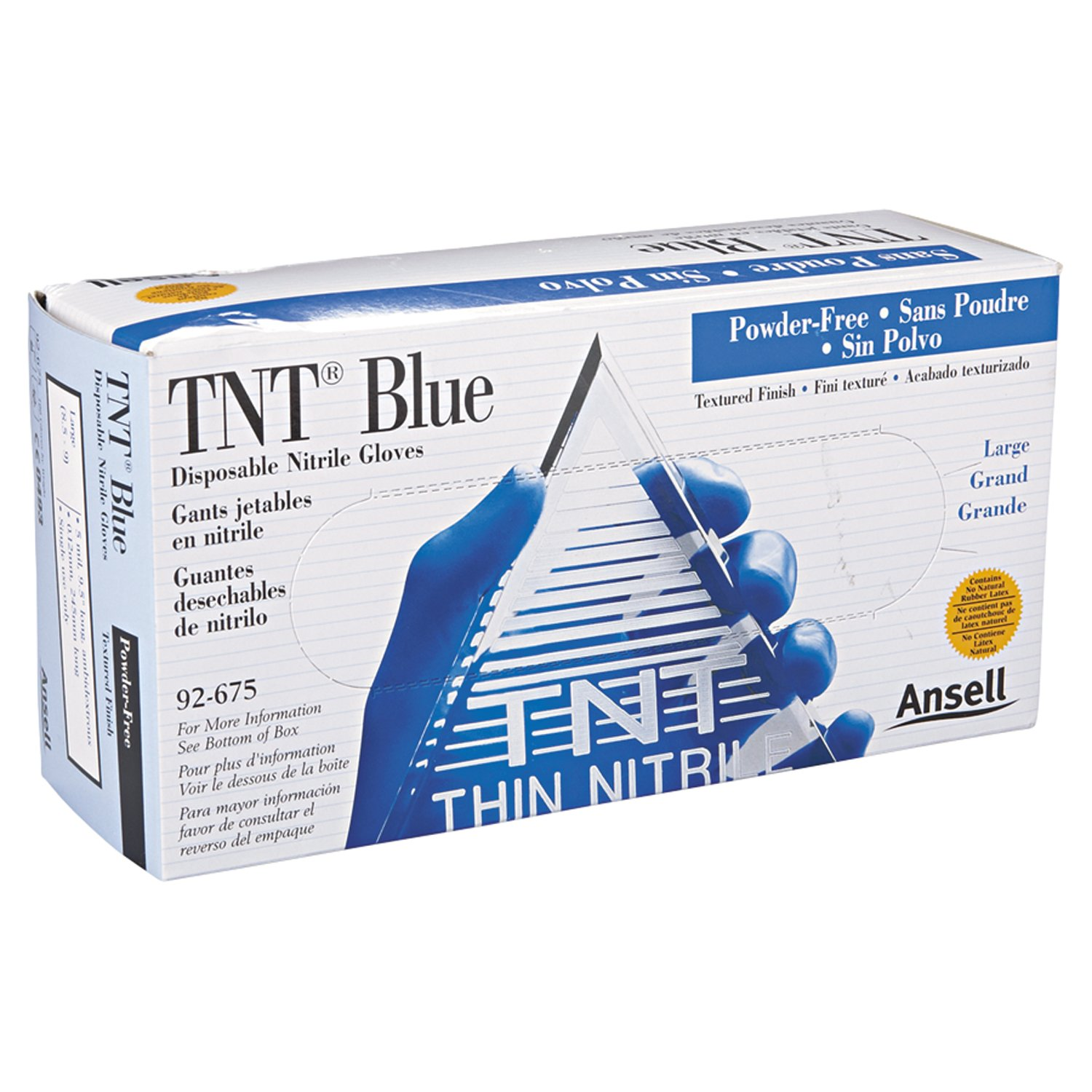 Ansell 92-675-L TNT Blue Disposable Gloves, Powder Free, Nitrile, 5 mil, Large, Blue by Ansell  B01KCGK60K
