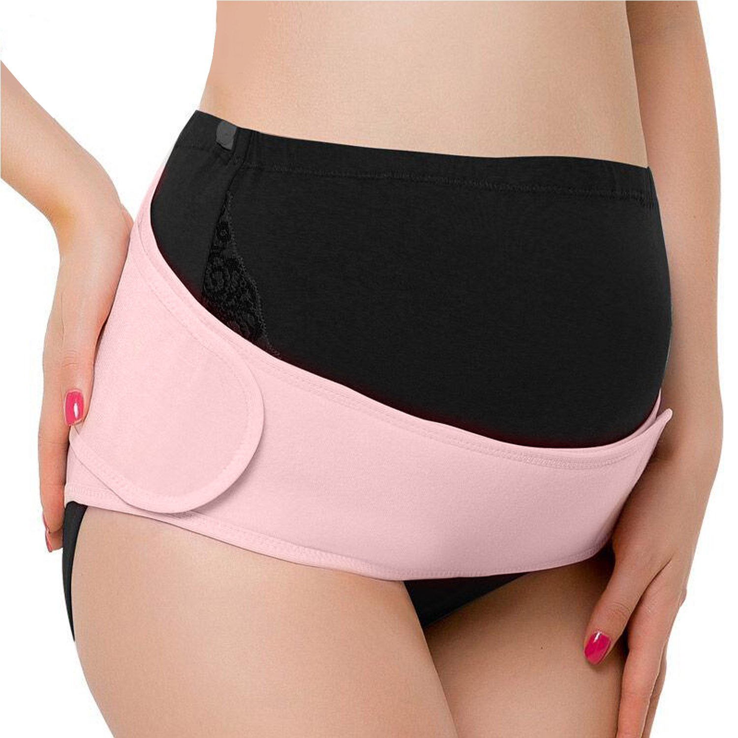 Tirain Maternity Belt Pregnancy Belly Band Breathable Abdominal Binder Adjustable Back Support Belt, Pelvic Support Belt Pregnancy, Suitable For Prenatal and Postpartum Recovery Pink)