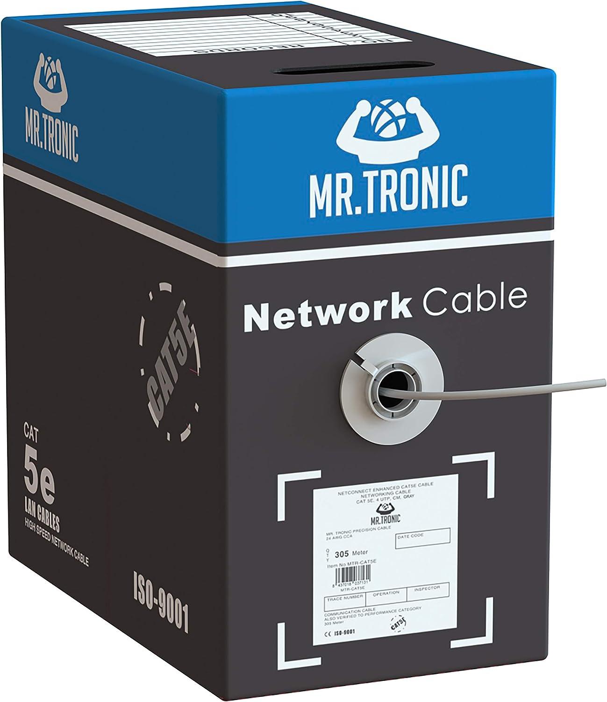 Mr. Tronic 305m Cable de Instalación Red Ethernet Bobina | CAT5e, AWG24, CCA, UTP | Color Gris (305 Metros)