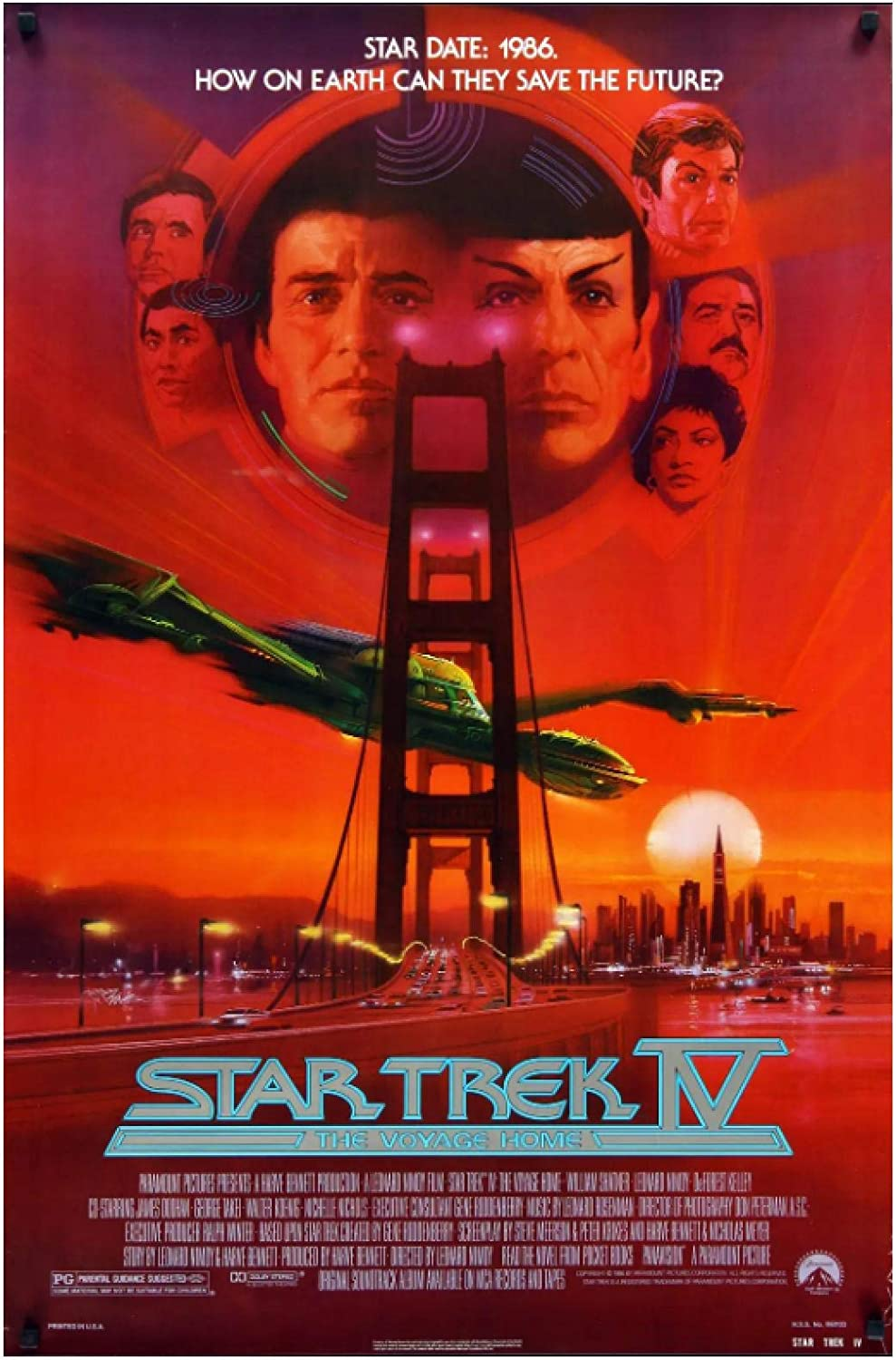 Sanwooden Star Trek IV: The Voyage Home Posters and Prints Movie Poster Art Stills Decoration Living Room Bedroom Canvas Print on The Wall -20x30 inch No Frame