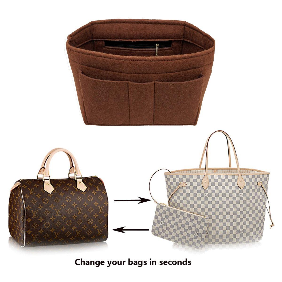LEXSION Felt Insert Fabric Purse Organizer Bag, Bag Insert in Bag with Zipper Inner Pocket Brown XL by LEXSION (Image #6)
