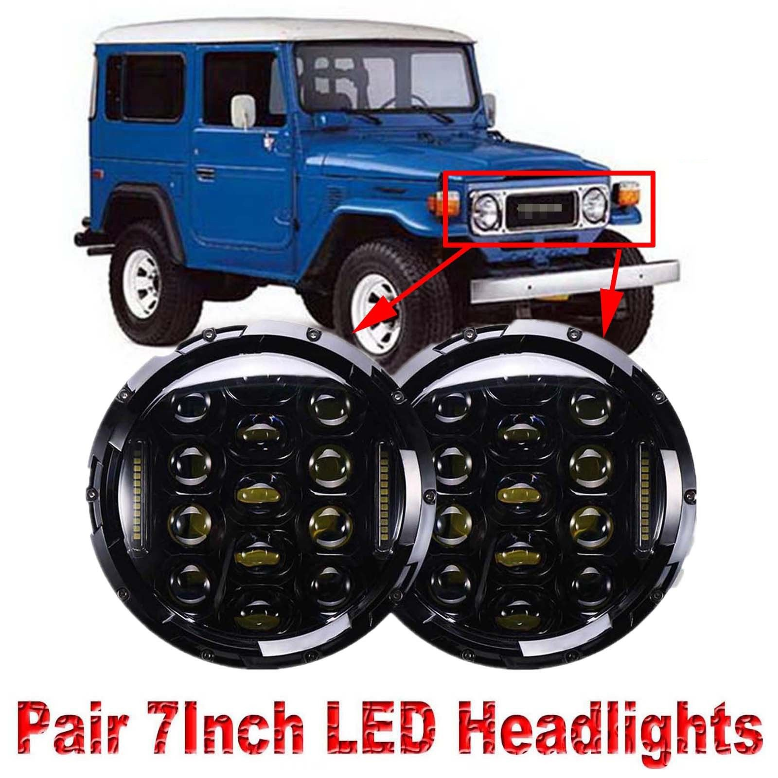 Land Cruiser Fj40 Top Deals Lowest Price 1973 Toyota 7 Inch Led Round Headlight Conversion For 150w 6000k Hi Lo