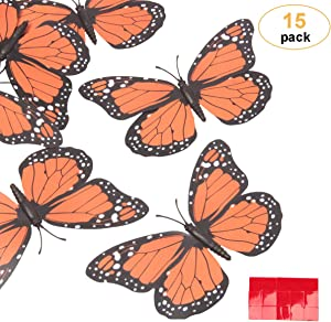 yalansmaiP 15 PCS Monarch Butterfly Decorations 3D Butterfly Wall Stickers Butterfly Wall Decal Refrigerator Magnets Artificial Monarch Butterfly for Home,Wall,Wedding,Party Decoration(4.72'',Orange)