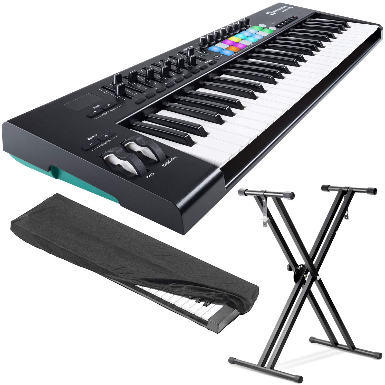 Novation Launchkey 49 USB/MIDI Keyboard Controller w/Kaces KKC-SM Small Dust Cover & Keyboard Stand