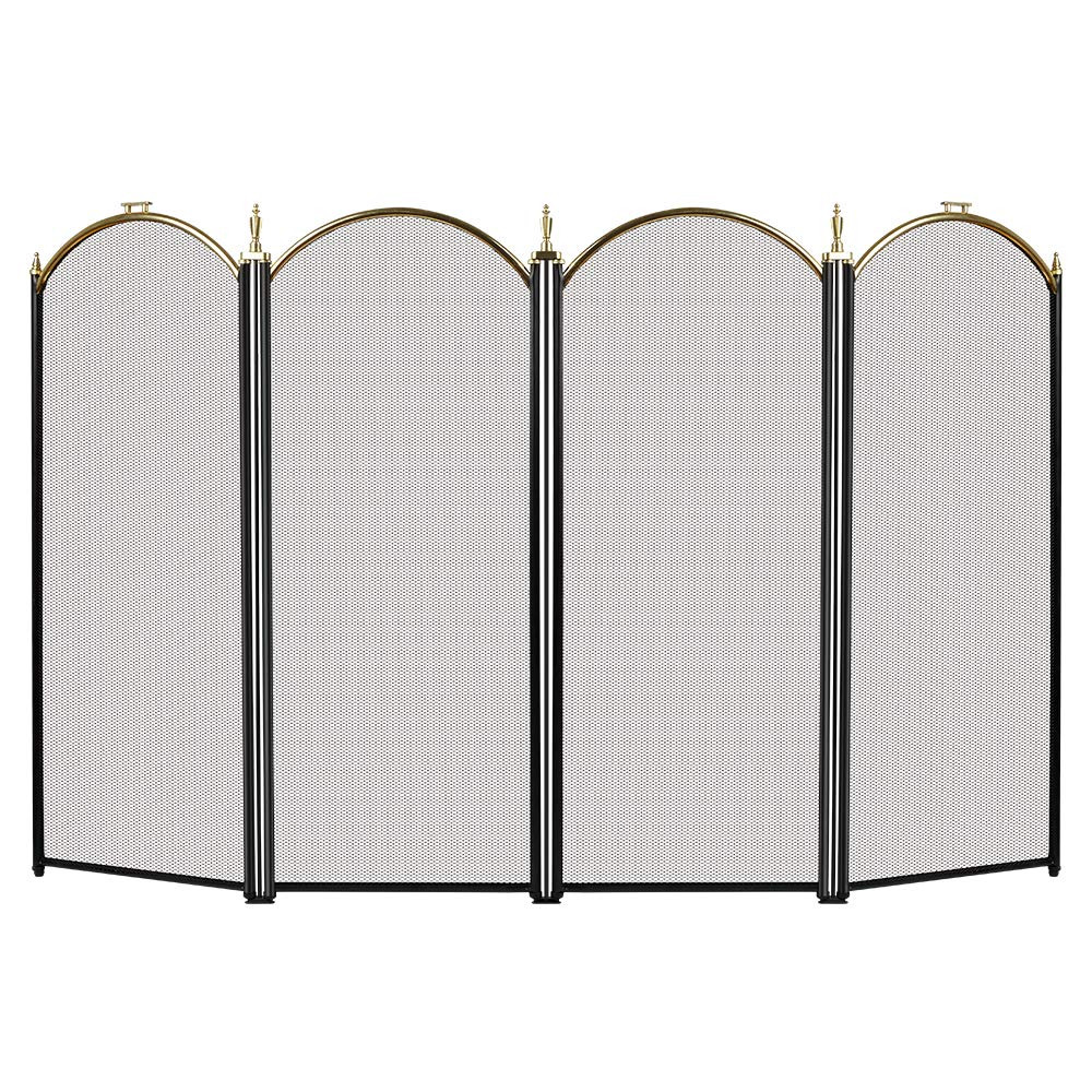 Large Gold Fireplace Screen 4 Panel Ornate Wrought Iron Black Metal Fire Place Standing Gate Decorative Mesh Solid Baby Safe Proof Fence Steel Spark Guard Cover Outdoor Fireplace Tools Accessories AMAGABELI GARDEN & HOME FBA_S41012PK