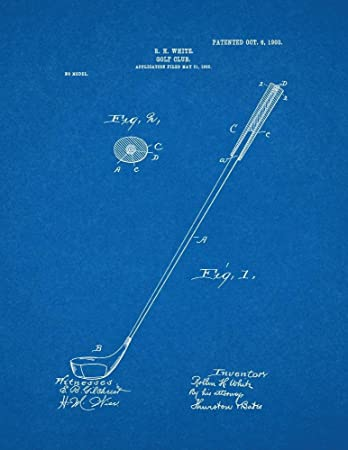 Amazon golf club patent print art poster blueprint 85 x 11 golf club patent print art poster blueprint 85quot malvernweather