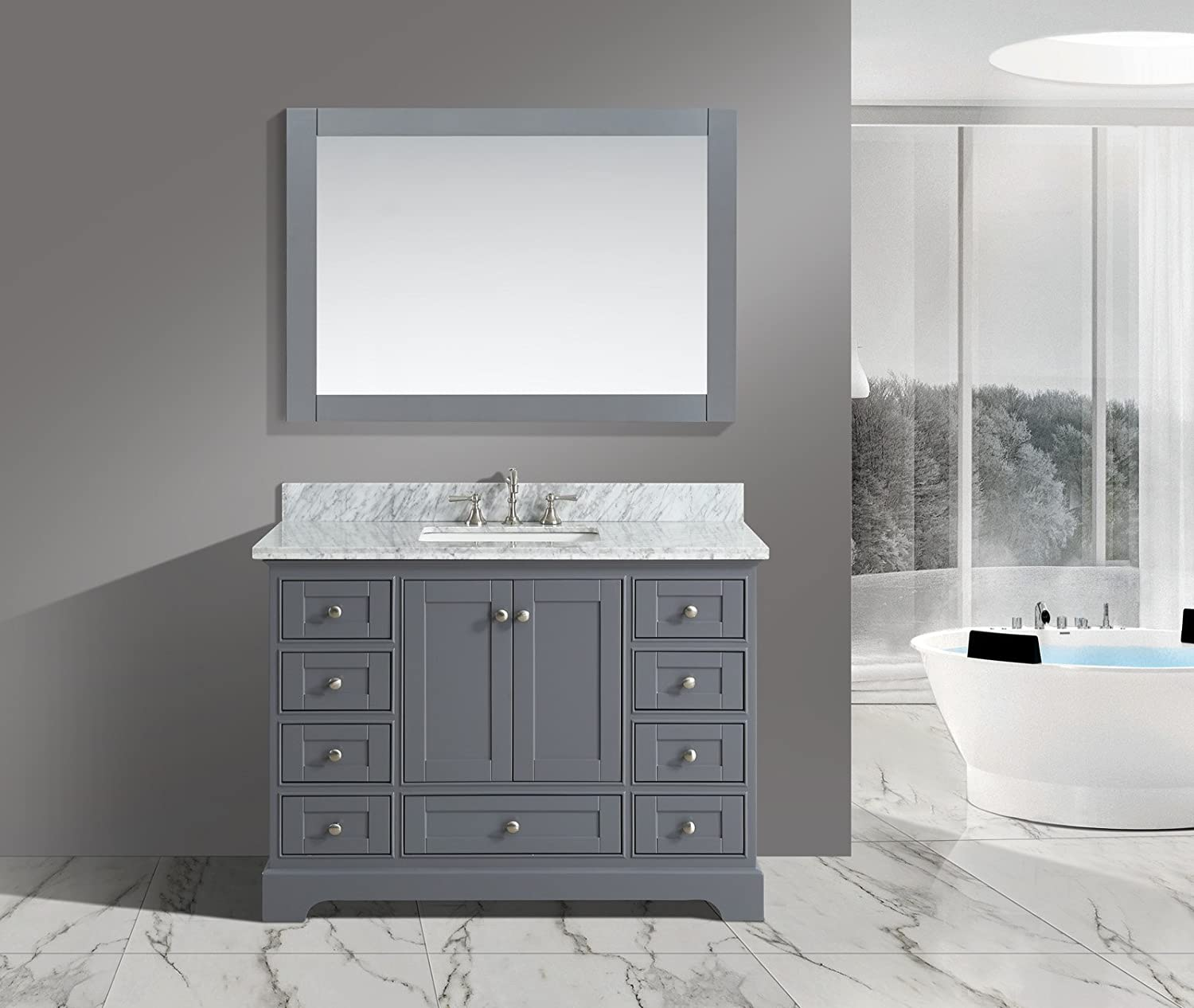 Amazon Com Urban Furnishing Jocelyn 48 Inch 48 Bathroom Sink Vanity Set With White Italian Carrara Marble Top Charcoal Home Kitchen