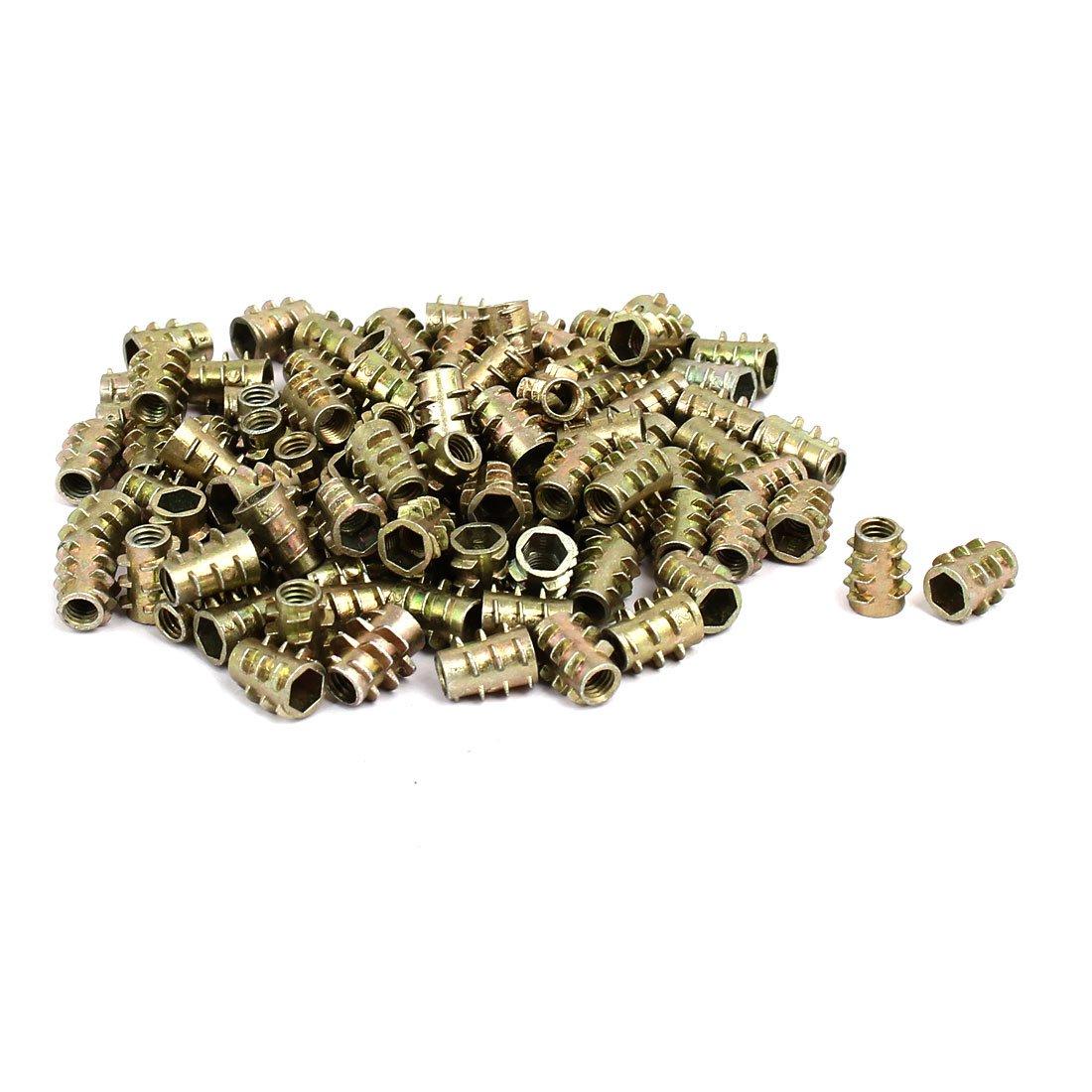 uxcell Threaded Insert Nuts Zinc Alloy Hex-Flush M5 Internal Threads 10mm Length 50pcs