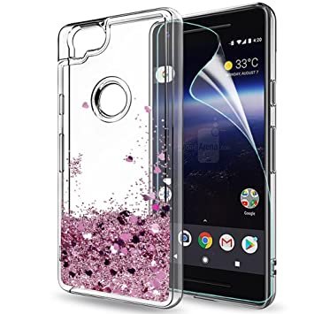 best service 5ff29 59a10 LeYi Google Pixel 2 Case with Screen Protector, Girl Women 3D Glitter  Liquid Moving Cute Personalised Clear Transparent Silicone Gel TPU  Shockproof ...