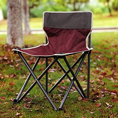 TOPINCN Outdoor Folding Chair, Aluminum Alloy Portable Rocking Chair Frame Red Seat Chair for Patio Fishing Camping Beach Picnic 23.62X14.96X14.96inch : Garden & Outdoor
