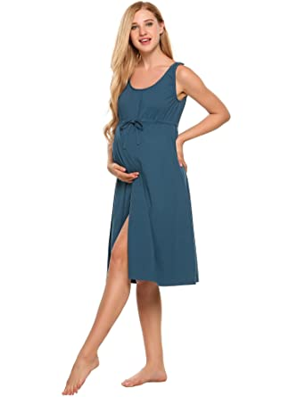 de9c96a240997 Skylin Ladies Sleeveless Night Gown Nursing Shirt Dress Comfort Pajamas  (Navy Blue, XL) at Amazon Women's Clothing store: