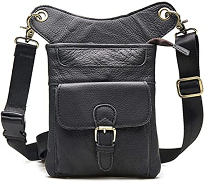 Leather Unisex Waist Pack Leg Drop Bags Motorcycle Crossbody Messenger Shoulder