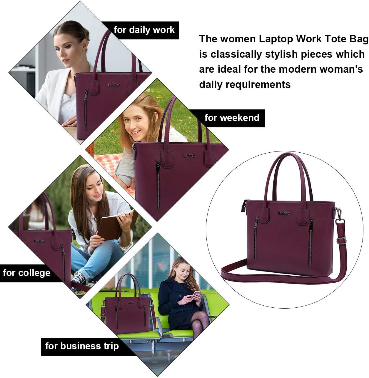 BAIMAY Laptop Bag,15.6 Inch Tote Bag Briefcase with Multi-Pocket Laptop Shoulder Bag Business Handbags Work Tote Bag Large Computer Purse with Padded Pocket for Women