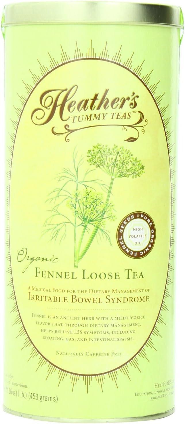 Heather's Tummy Teas Organic Fennel Tea for IBS, 16 Ounce Loose Tea Canister