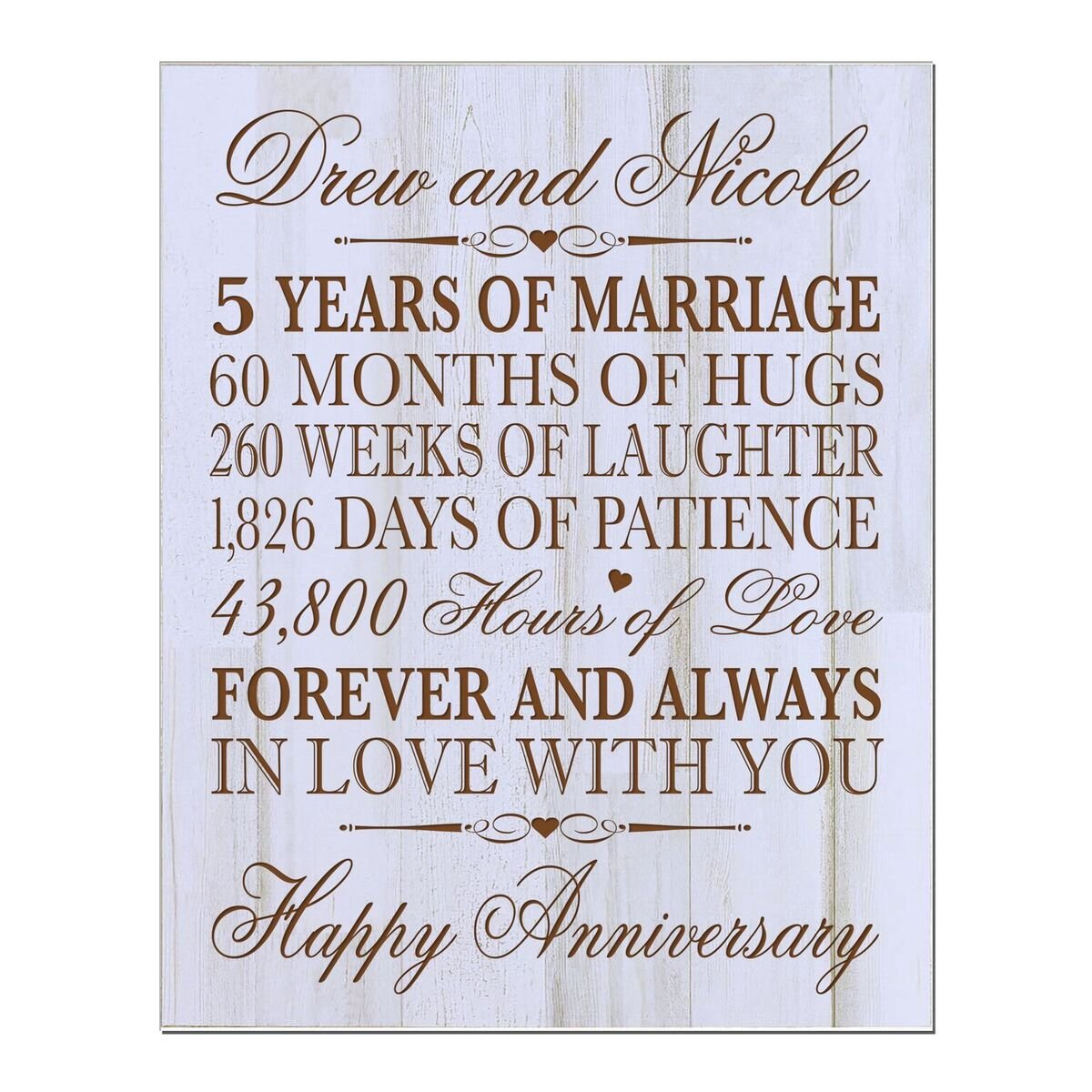 Personalized 5th Wedding Anniversary Wall Plaque Gifts for Couple, Custom Made 5th Anniversary Gifts for Her,5th Wedding Anniversary Gifts 12'' W X 15'' H Wall Plaque By LifeSong Milestones (DW)